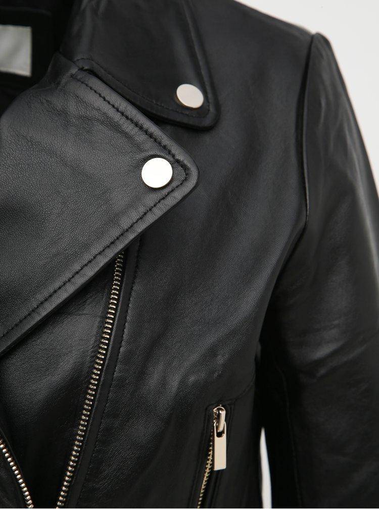 Čierna kožená bunda VILA Viellys
