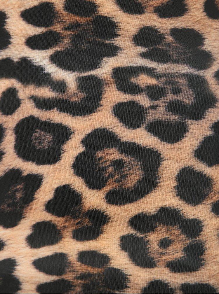 Hnědé pouzdrové šaty s leopardím vzorem Haily´s Lorie
