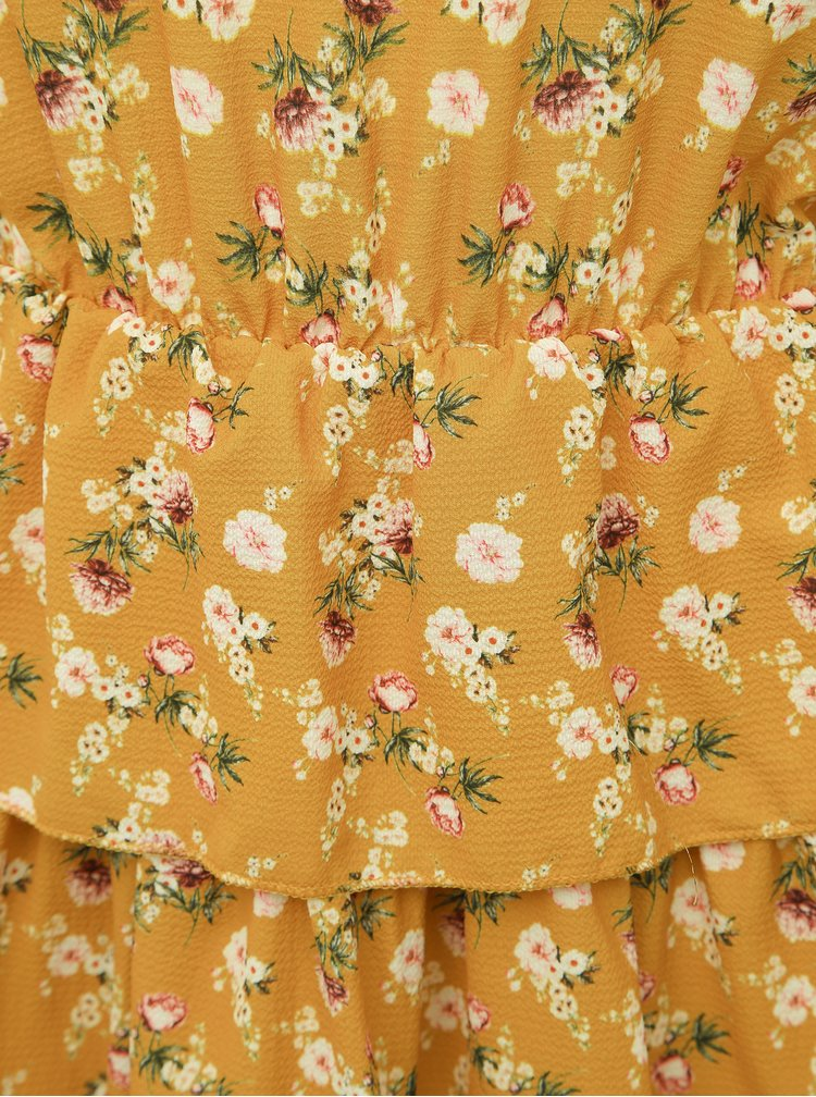 Horčicové kvetované šaty Haily´s Anni