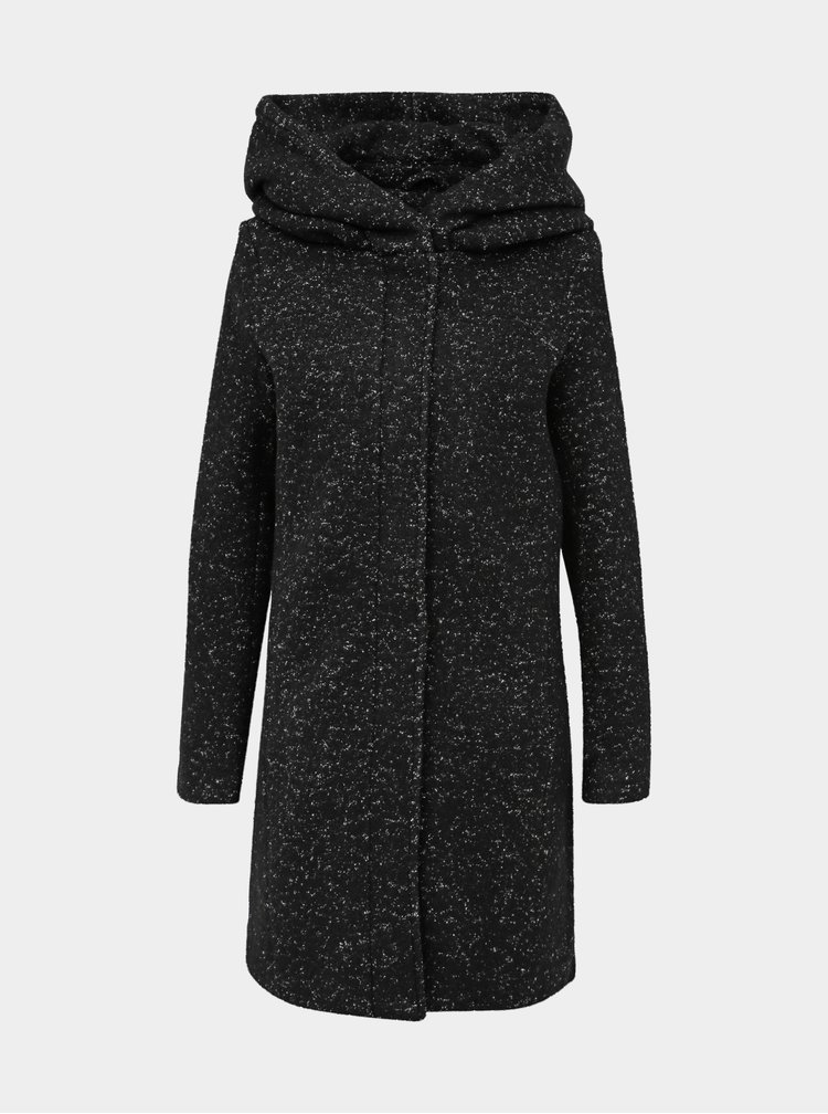 Černý žíhaný kabát s příměsí vlny VILA Cania