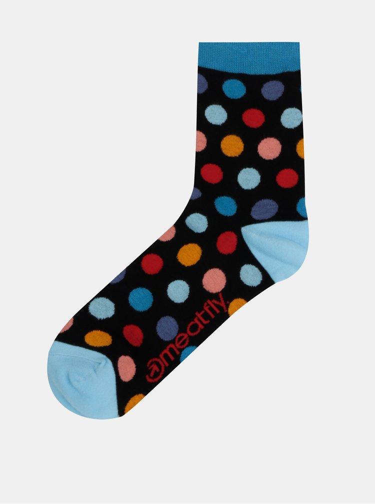 Sada troch párov bodkovaných ponožiek v čiernej a modrej farbe Meatfly Dark