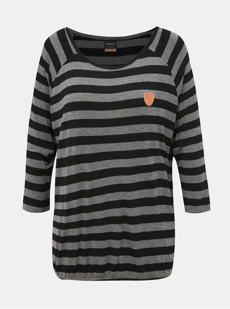 Čierno-šedé dámske pruhované tričko SAM 73