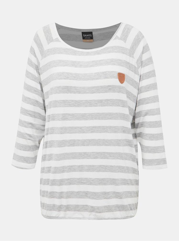 Šedo-bílé dámské pruhované tričko SAM 73