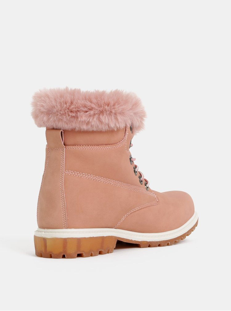 Růžové dámské zimní kotníkové boty Haily´s Monty