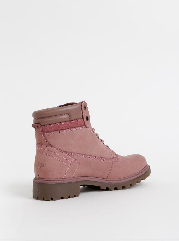 Rúžové dámske semišové členkové topánky Wrangler