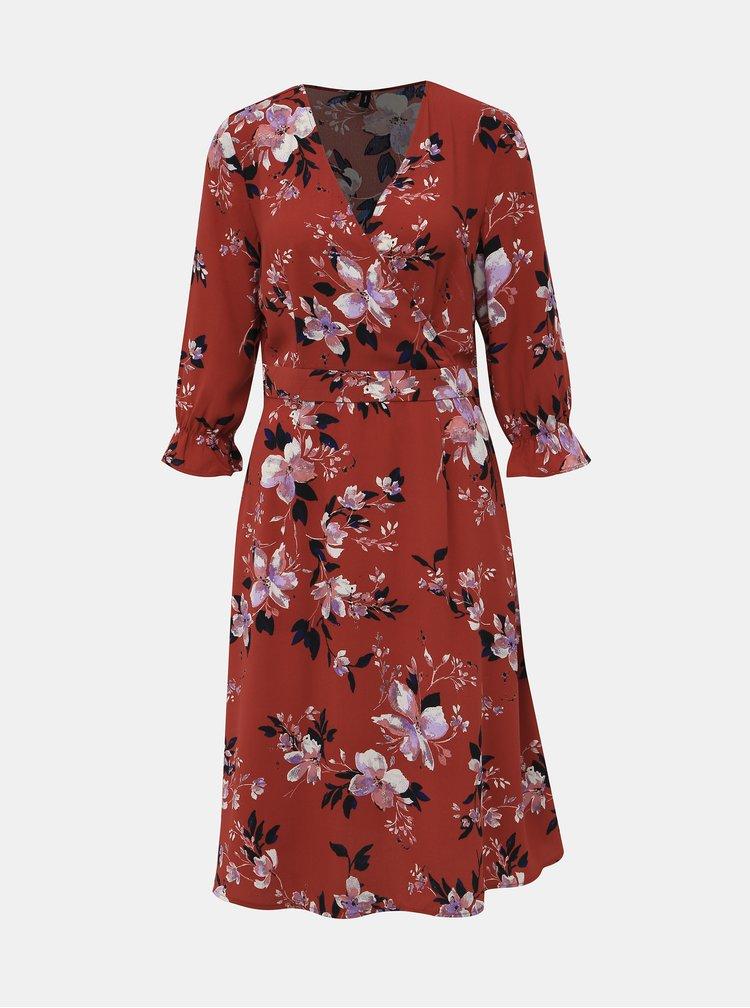 Cihlové květované šaty VERO MODA Reeda