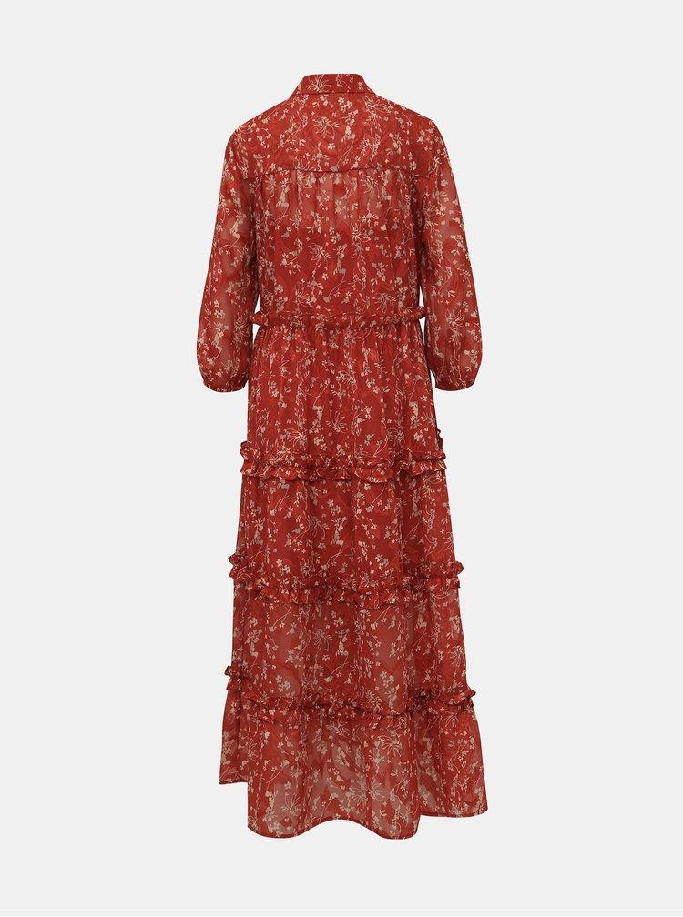 Tehlové kvetované košeľové maxi šaty VERO MODA Alberte