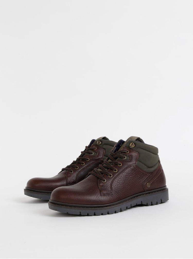 Zeleno-hnedé pánske kožené členkové topánky Wrangler