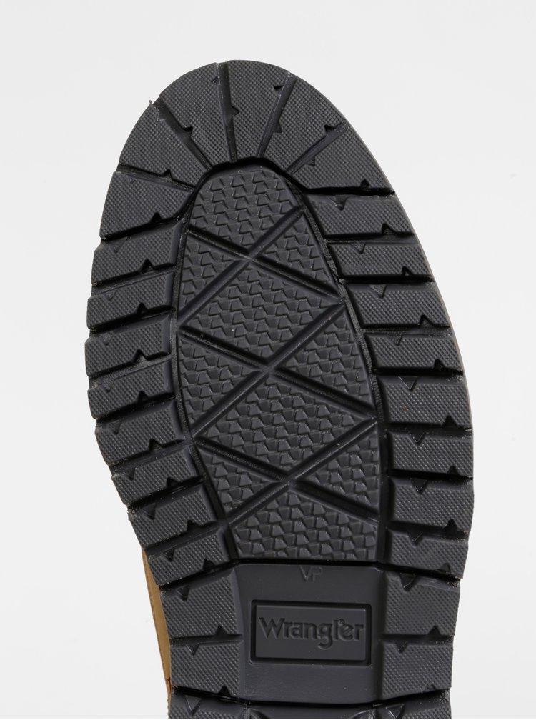 Hnedé pánske kožené členkové topánky Wrangler