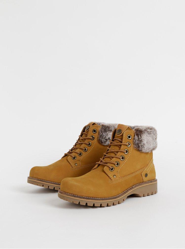 Hnedé dámske kožené členkové topánky Wrangler