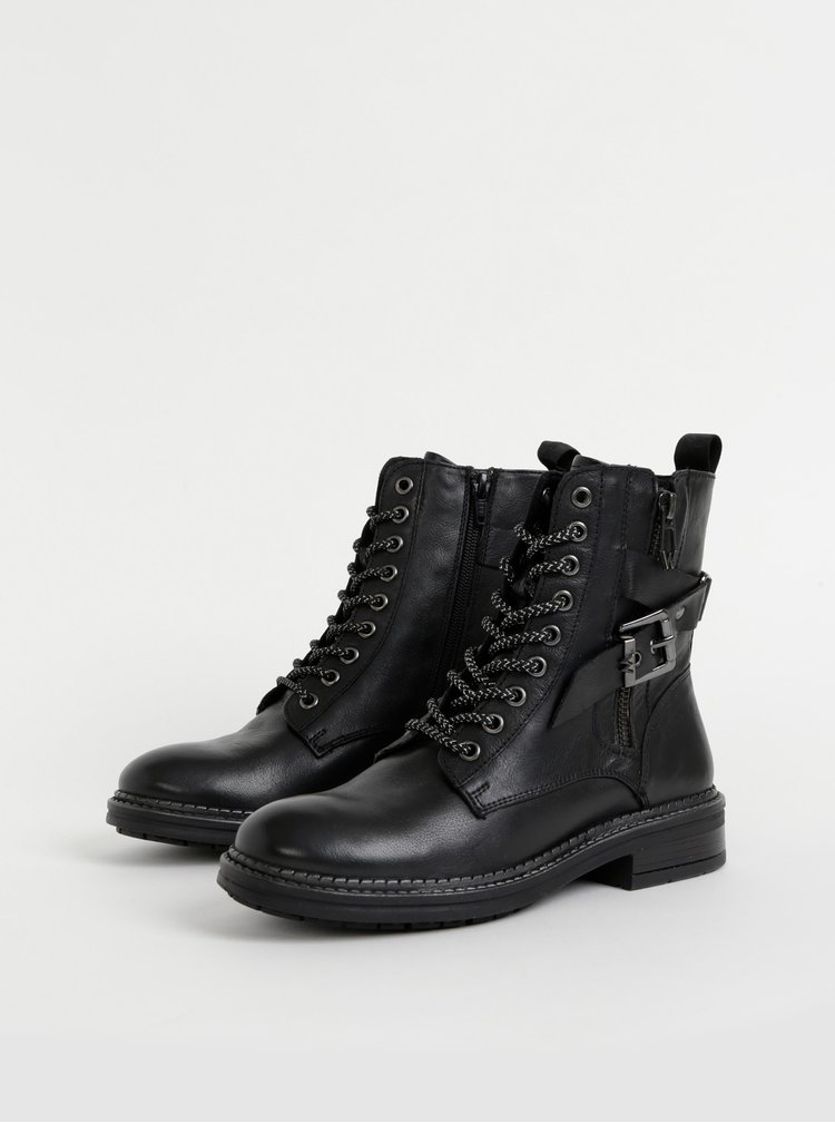 Čierne dámske kožené kotníkové topánky Wrangler