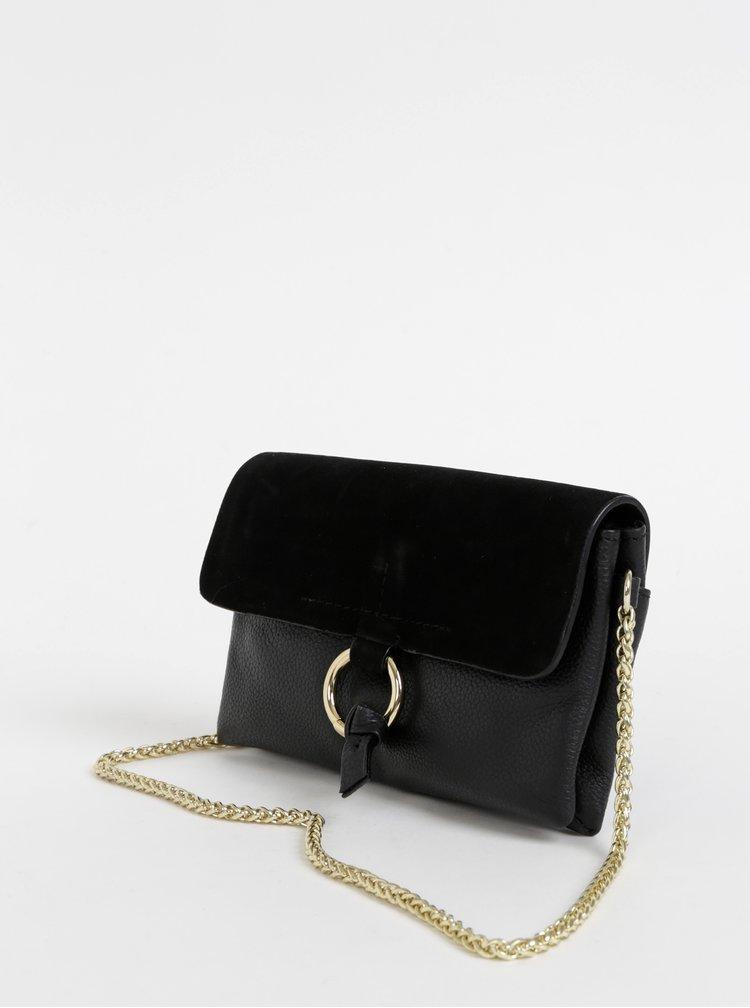 Černá kožená crossbody kabelka Pieces Ilva