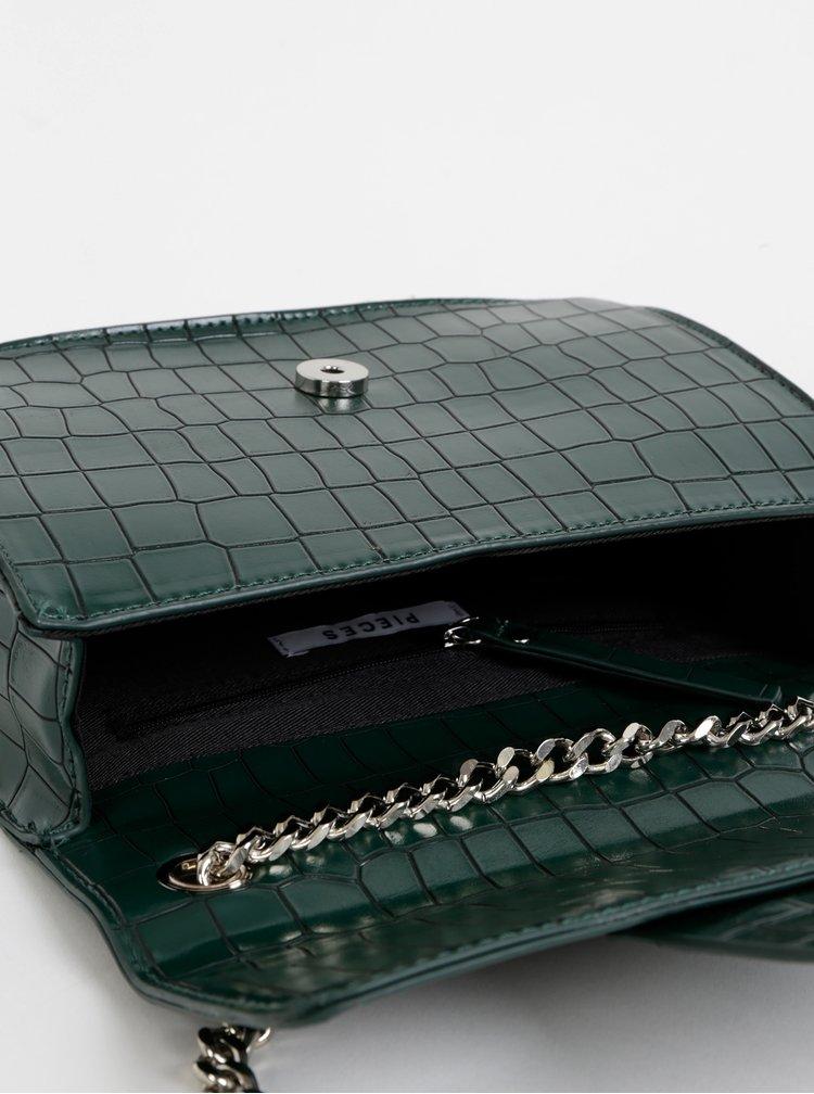Tmavě zelená kabelka s krokodýlím vzorem Pieces Jukari