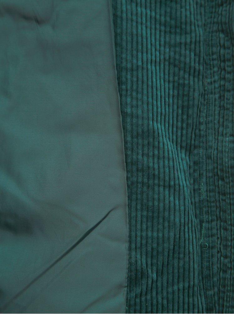 Tmavozelená menčestrová prešívaná zimná bunda VERO MODA Levinewyork