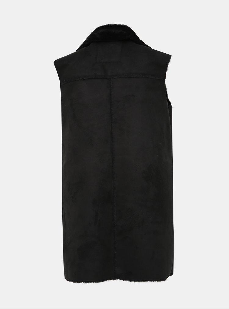 Černá vesta v semišové úpravě s umělým kožíškem VERO MODA August