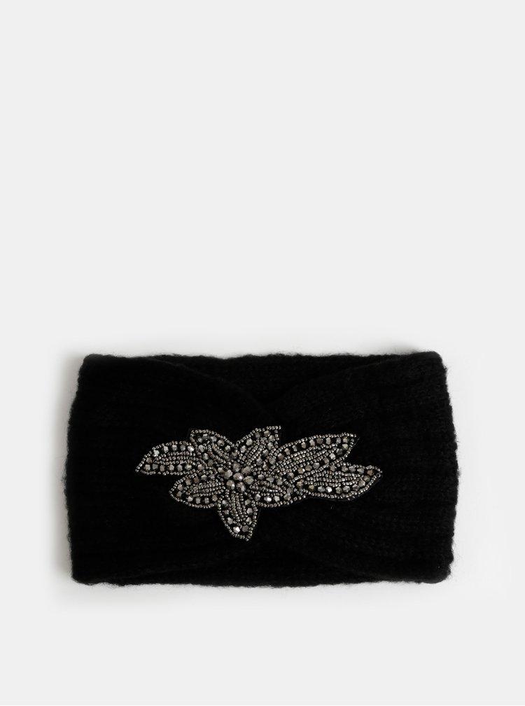 Černá čelenka s ozdobou ve stříbrné barvě Pieces Hanja
