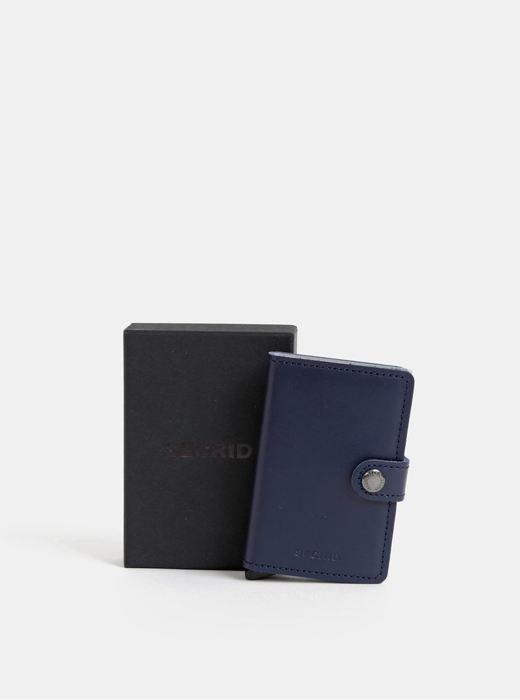 Tmavě modrá kožená peněženka s hliníkovým pouzdrem Secrid Miniwallet
