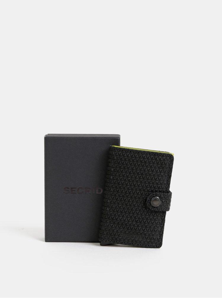 Čierna vzorovaná kožená peňaženka s hliníkovým púzdrom Secrid Miniwallet Diamond
