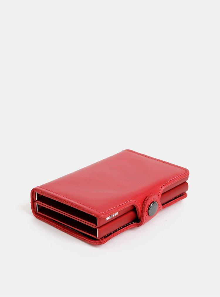 Červená kožená peněženka s hliníkovými pouzdry Secrid Twinwallet