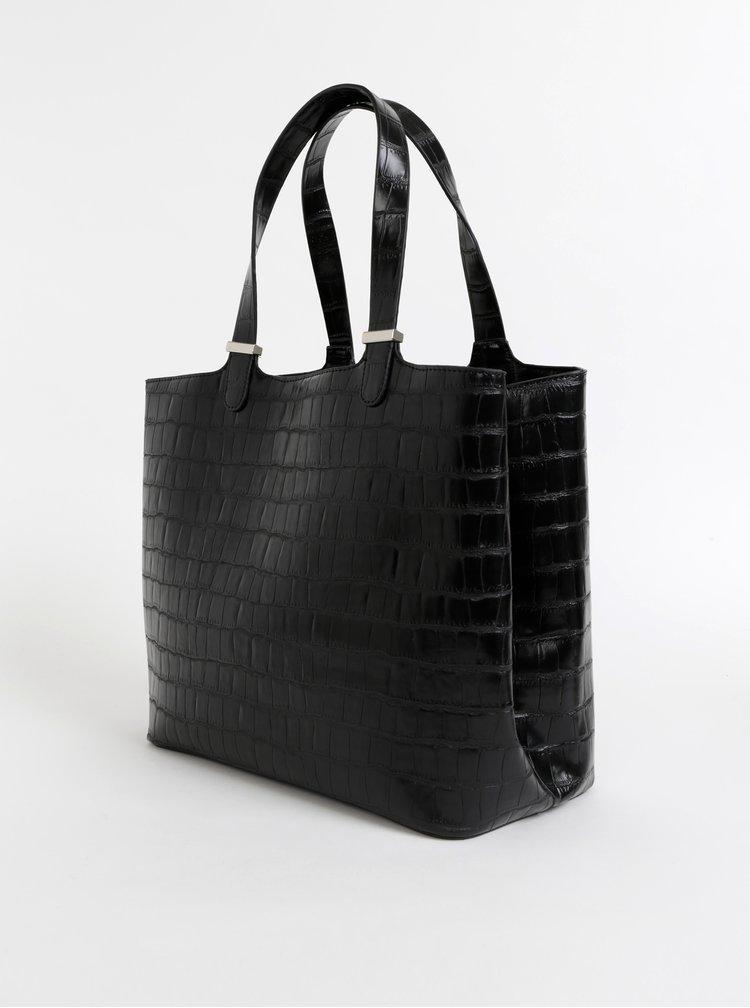 Čierna kabelka s krokodýlím vzorom Pieces Jesse