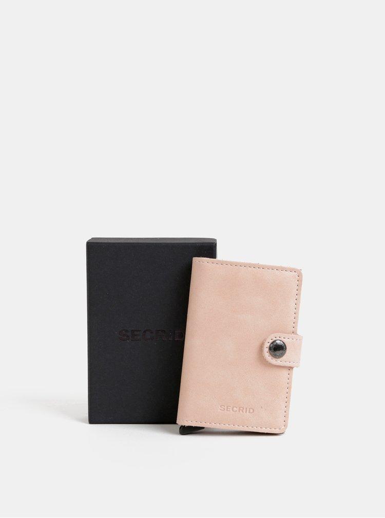 Růžová kožená peněženka s hliníkovým pouzdrem Secrid Miniwallet