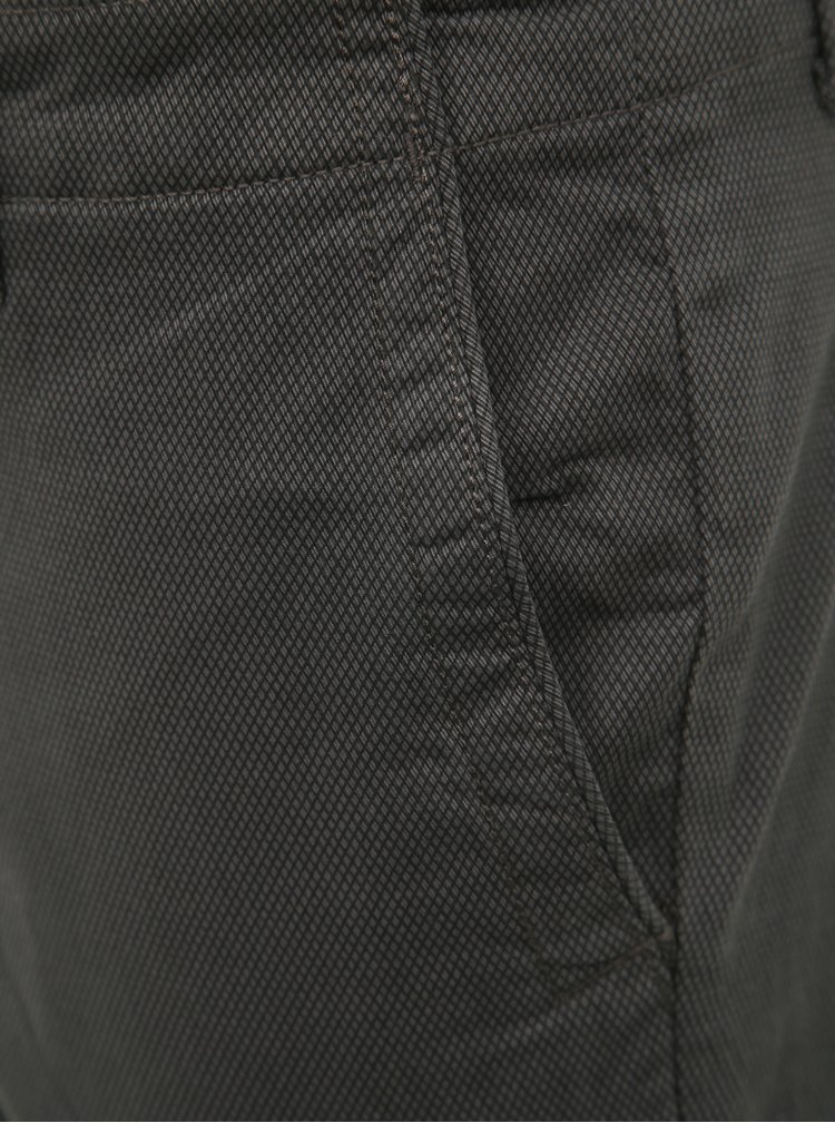 Tmavě šedé vzorované chino kalhoty Selected Homme Slim