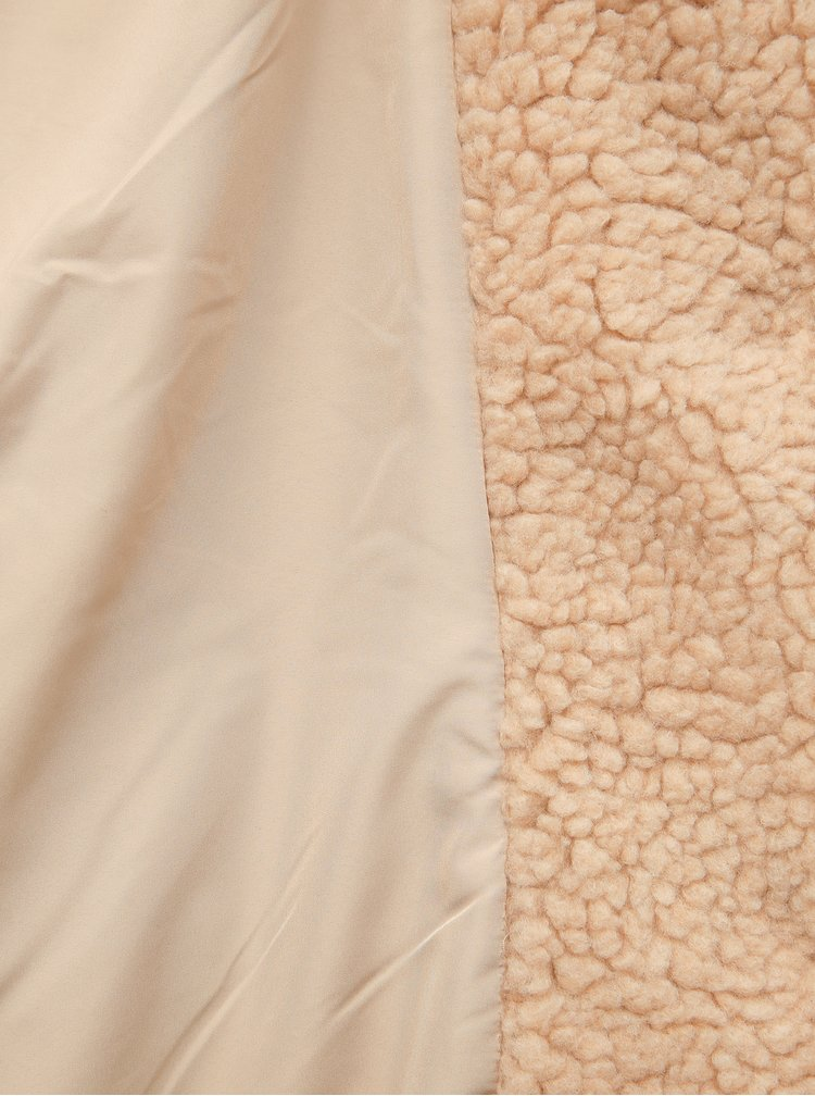 Béžový kabát z umělé kožešiny ONLY CARMAKOMA Aurelia