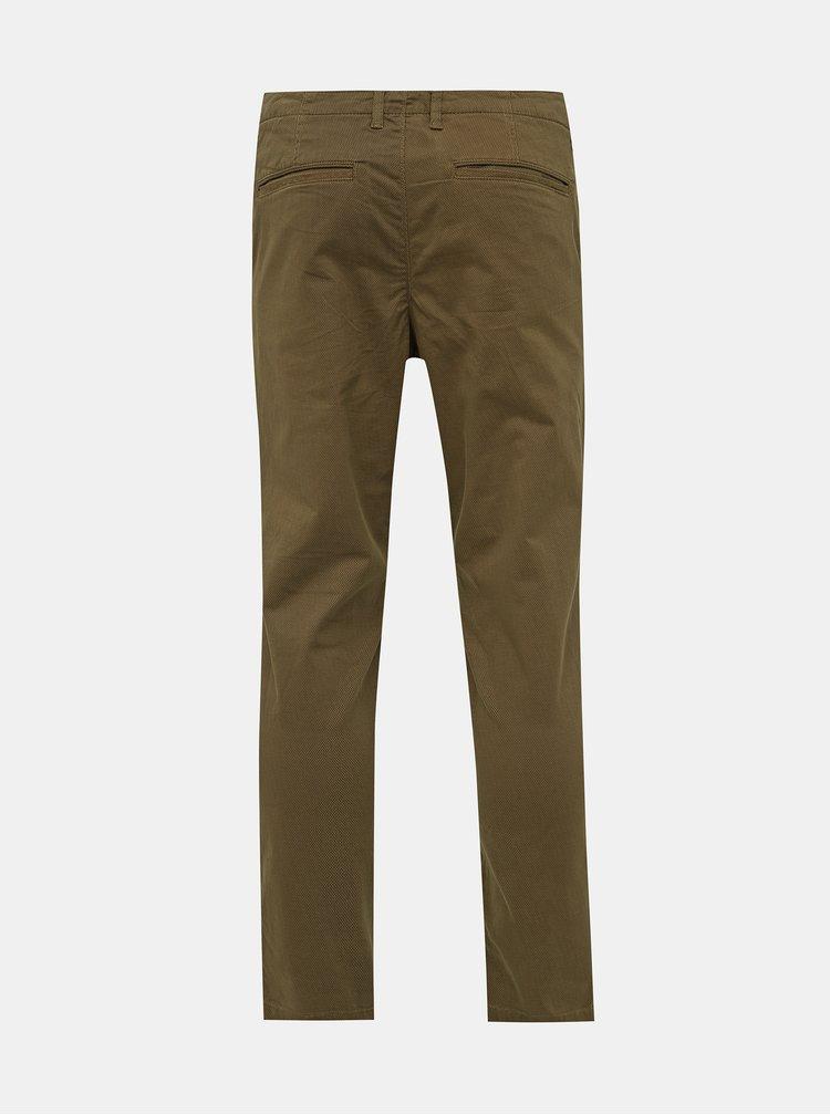 Hnedé vzorované chino nohavice Selected Homme Slim