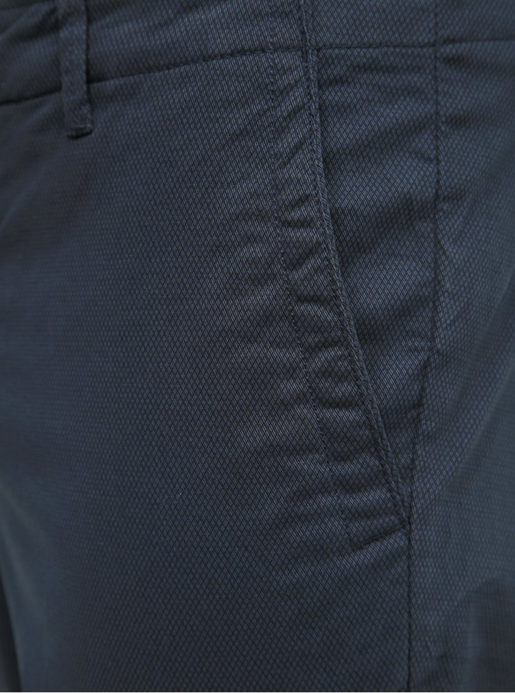 Tmavě modré vzorované chino kalhoty Selected Homme Slim