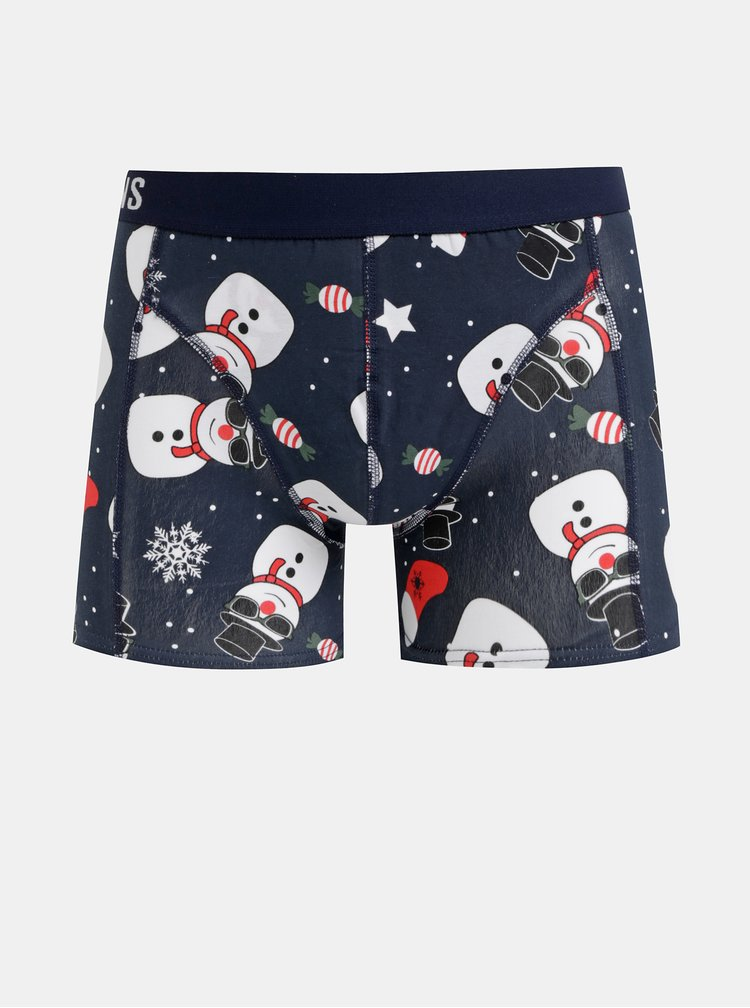 Sada tří boxerek v modré a červené barvě s vánočním motivem ONLY & SONS Noel