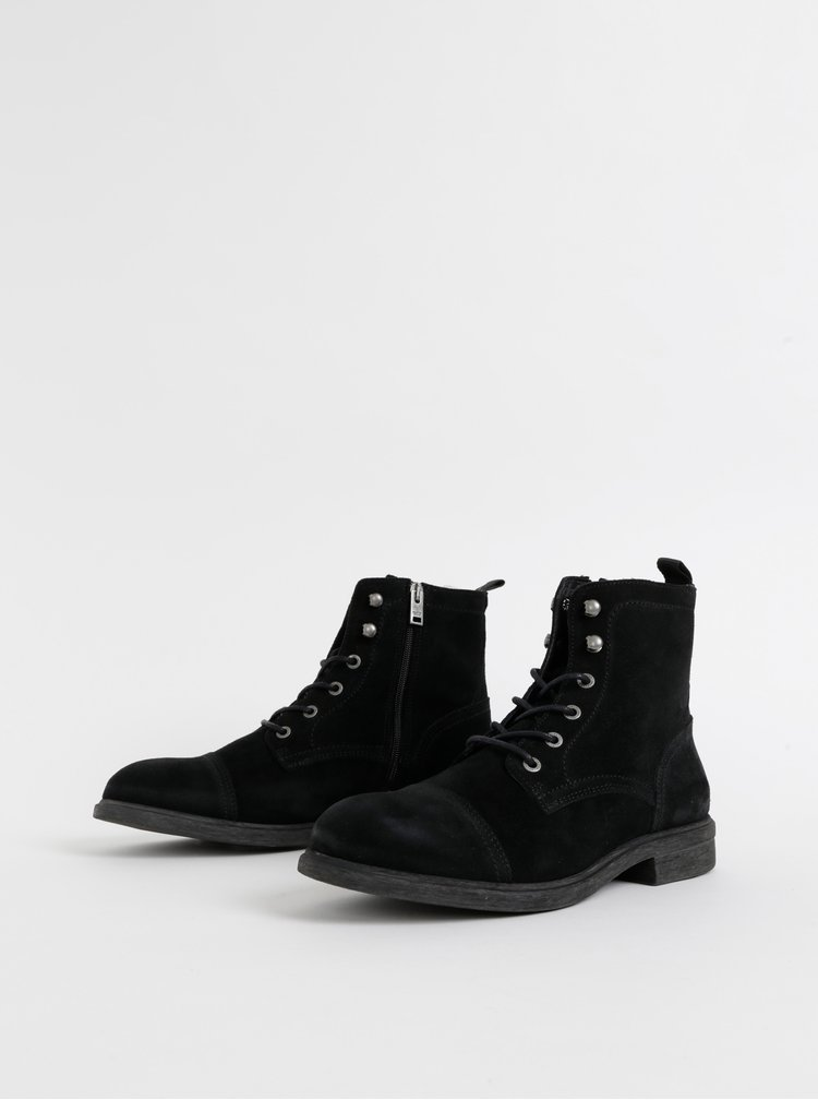 Černé semišové zimní kotníkové boty Selected Homme Terrel