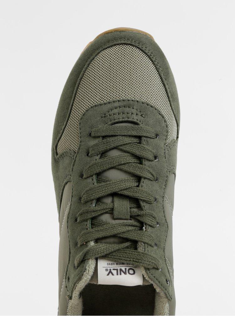 Zelené tenisky s detailmi v semišovej úprave ONLY New