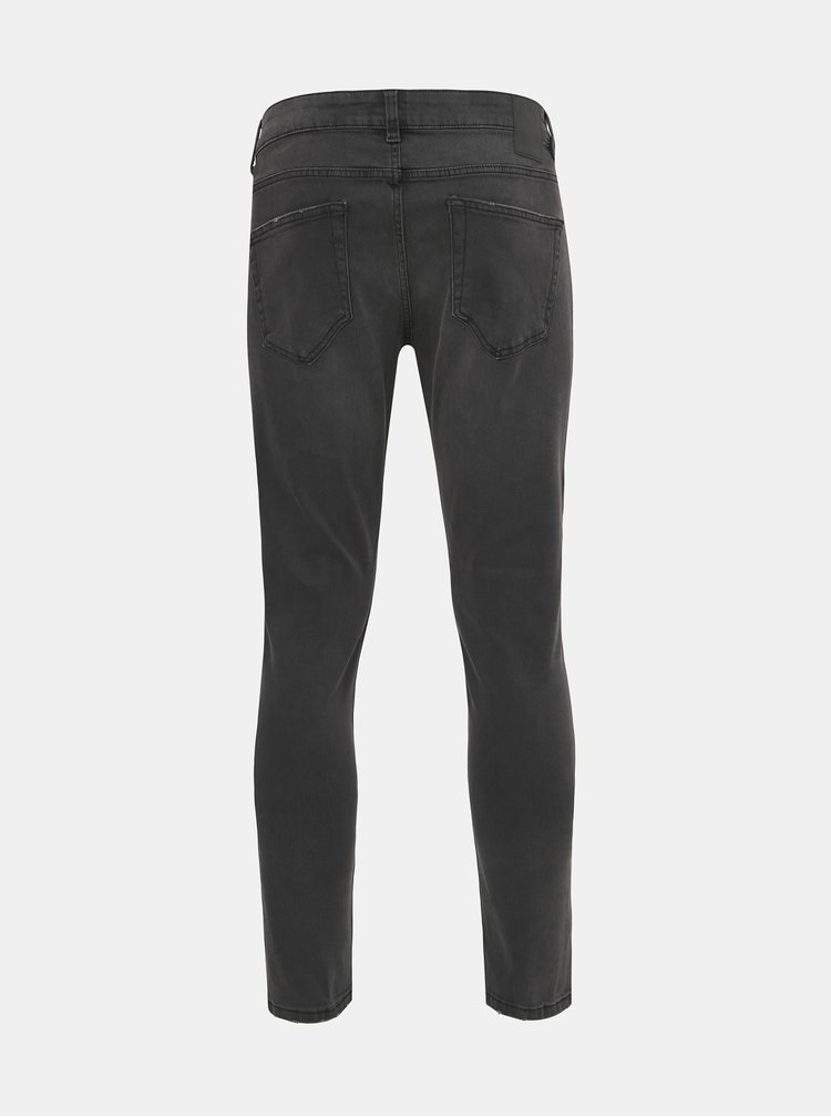 Tmavě šedé skinny fit džíny ONLY & SONS Warp