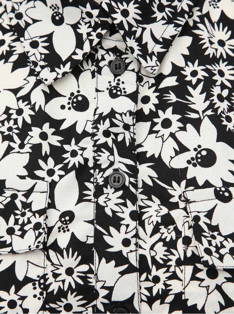 Bílo-černá květovaná košile ONLY Ophelia