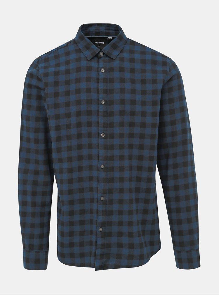 Modrá kockovaná košeľa ONLY & SONS Gudmund