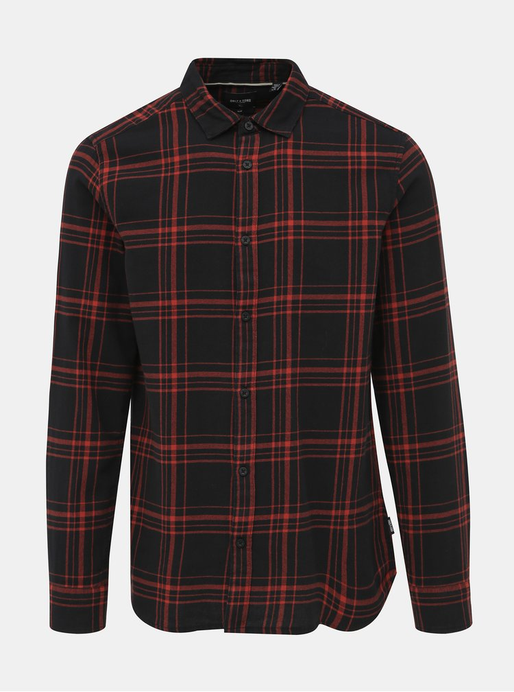 Červeno-čierna kockovaná košeľa ONLY & SONS Othan