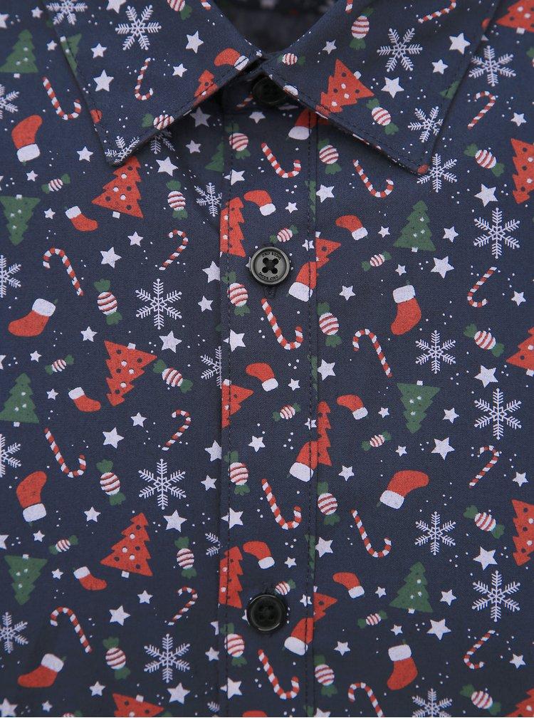 Tmavě modrá košile s vánočním motivem ONLY & SONS Elham