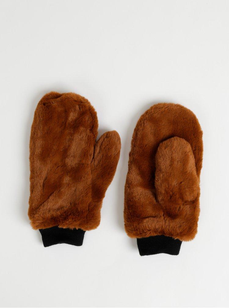 Hnědé palčáky z umělé kožešiny ONLY Furry