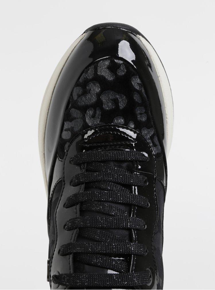 Černé dámské tenisky s leopardím vzorem Geox Backsie