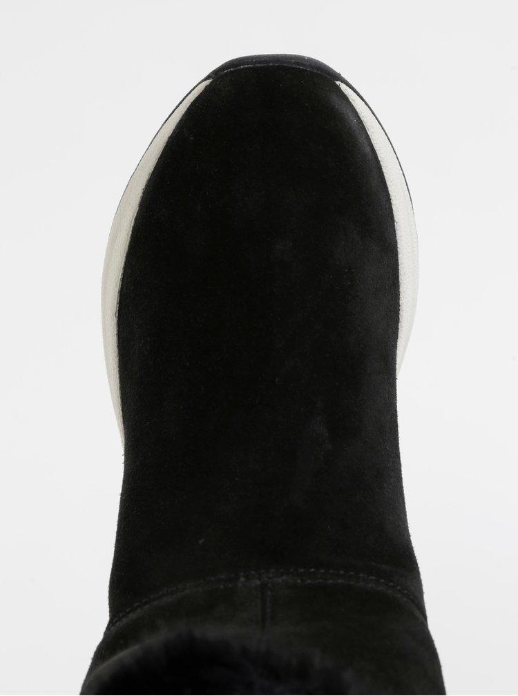 Černé dámské semišové zimní kotníkové boty Geox Backsie