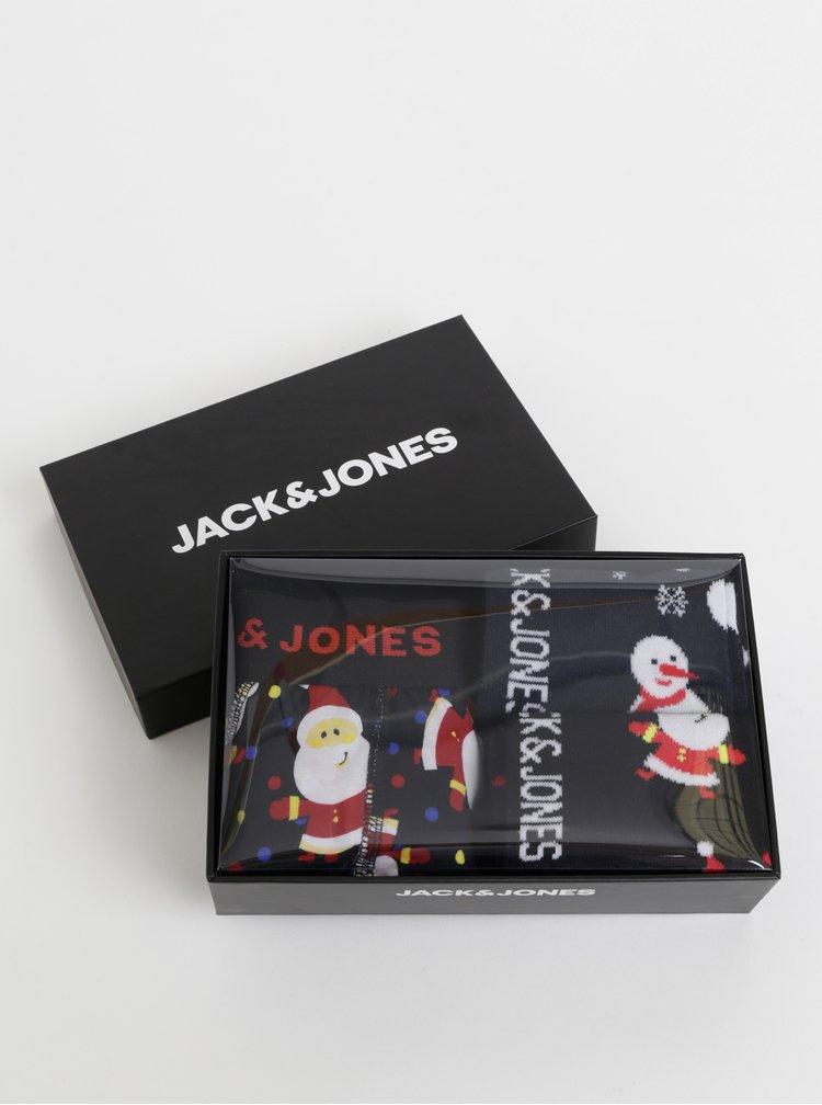 Černá sada dvou párů ponožek a boxerek s vánočním motivem Jack & Jones Snowmen