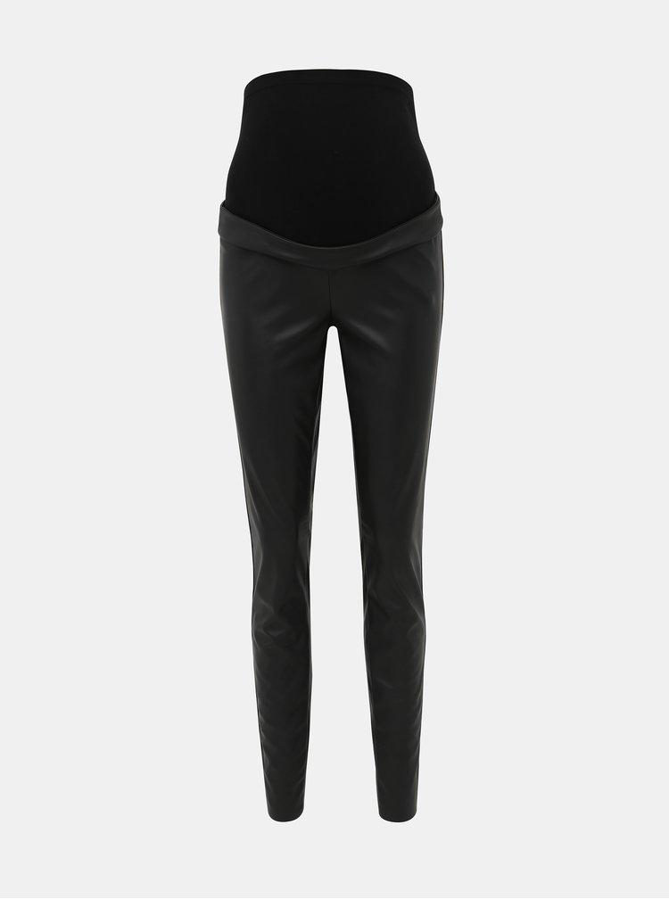 Černé koženkové těhotenské kalhoty Mama.licious Ben