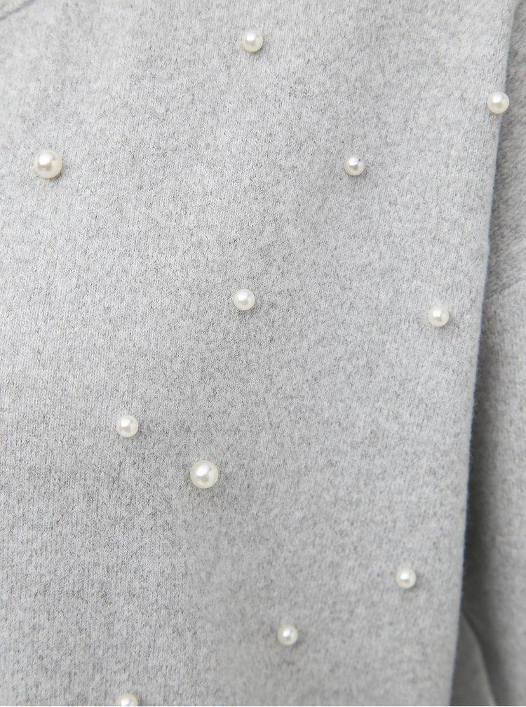 Svetlošedý dámsky sveter s korálkami Haily´s Fiona