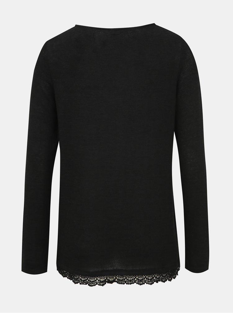 Čierny dámsky ľahký sveter s krajkou Haily´s Diana