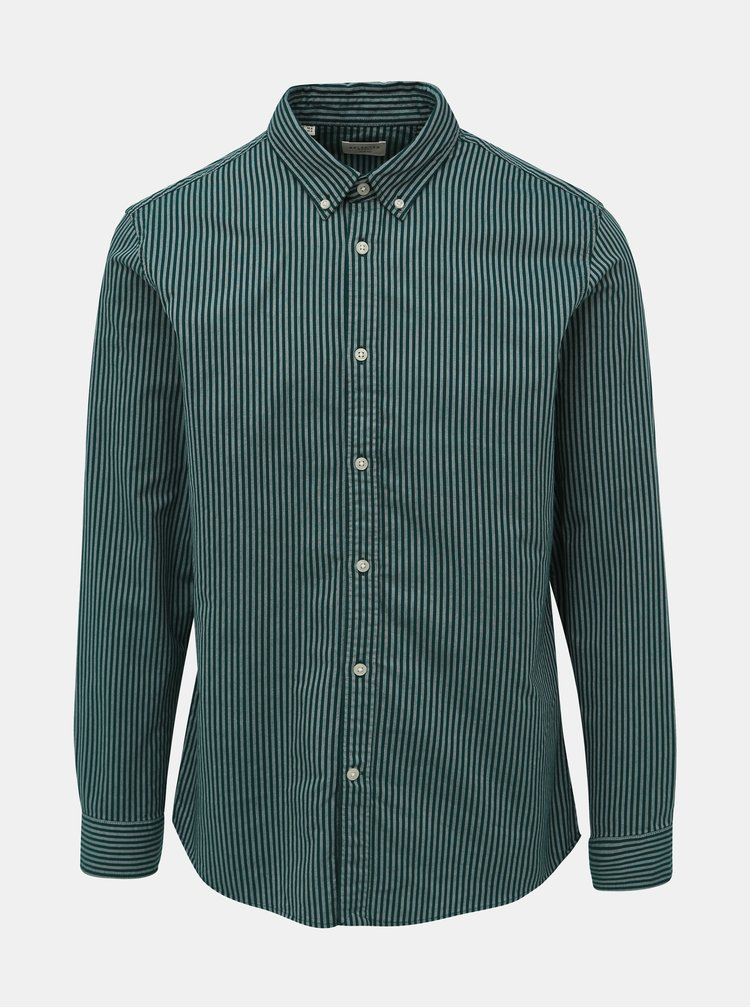 Tmavozelená pruhovaná slim fit košeľa Selected Homme Slimox