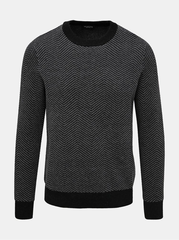 Šedý vzorovaný vlnený sveter Selected Homme Herring