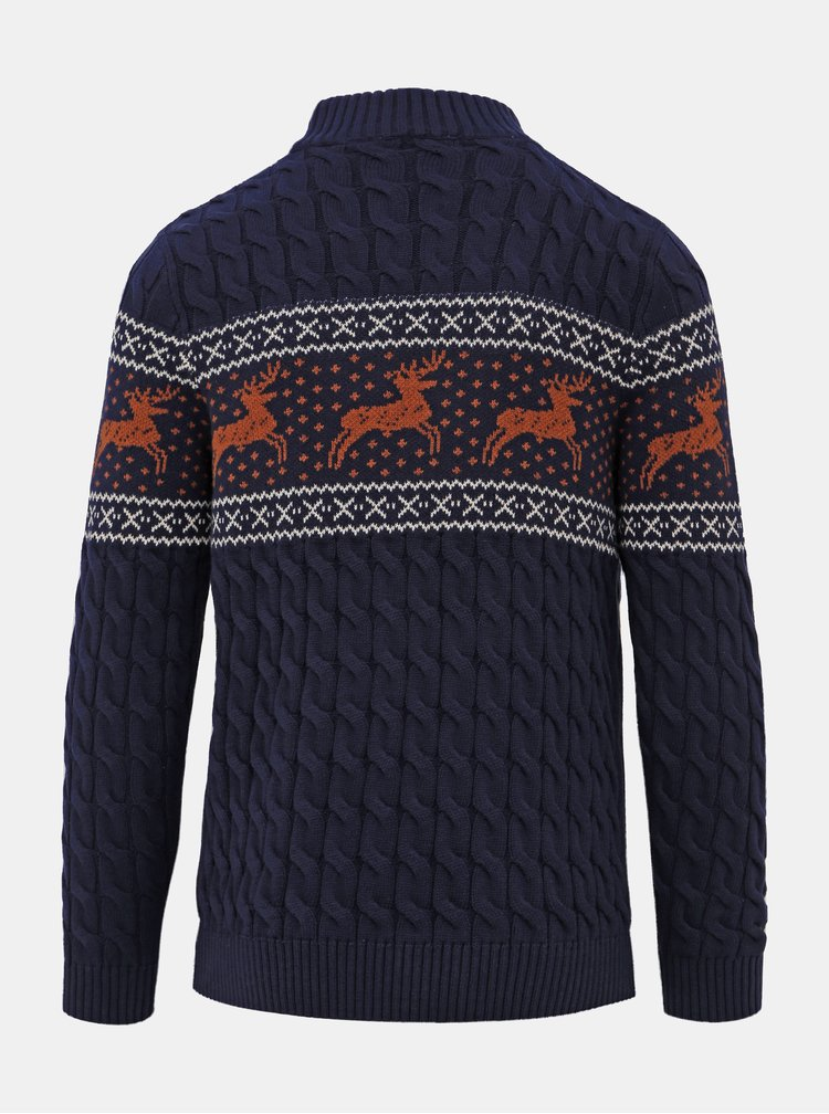 Tmavě modrý svetr s vánočním motivem Selected Homme Reindeer