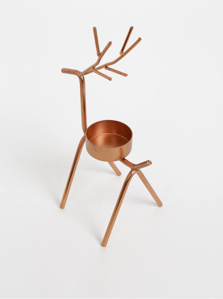 Svícen v bronzové barvě ve tvaru jelena Sass & Belle