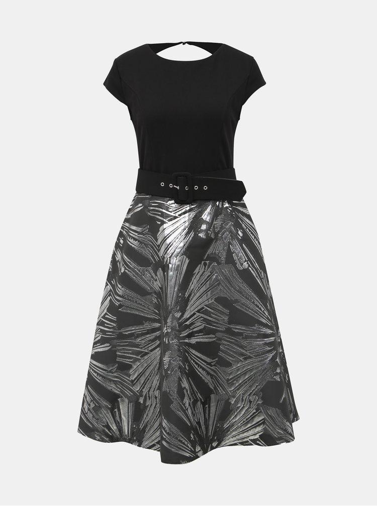 Černé vzorované midišaty Dorothy Perkins