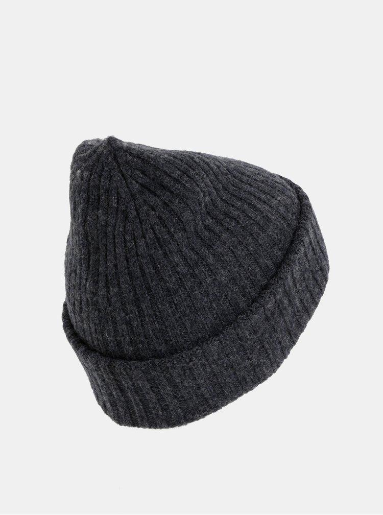 Tmavě šedá čepice z Merino vlny Selected Homme